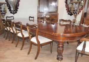 Mesa de caoba Comedor Victoriano sillas colocadas