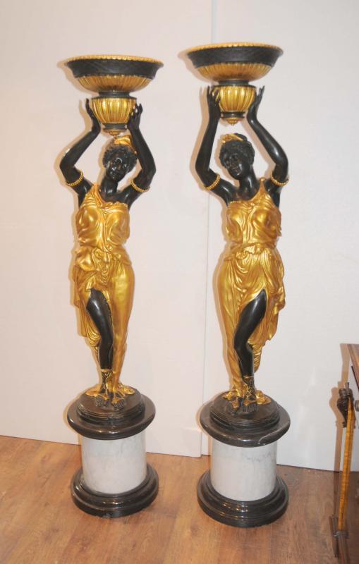 Coppia Statue moro Bronzo italiano Torcheres Firmato