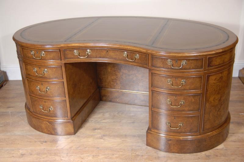 English Victorian Kidney Partners Desk Walnut