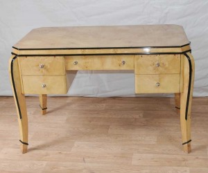 Art Deco Desk Writing Table Bureau Blonde Walnut