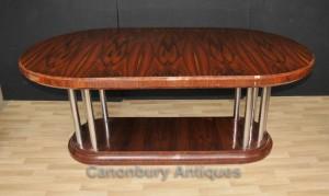 Art Deco Dining Table Rosewood Chrome Legs Modernist Furniture