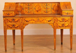 Carlton House Desk in Satinwood Inlay Desks English