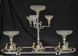 English Silver Plate Boulton Centrepiece Epergne Glass Tray Dish
