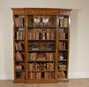 English Walnut Breakfront Bookcase Sheraton Regency