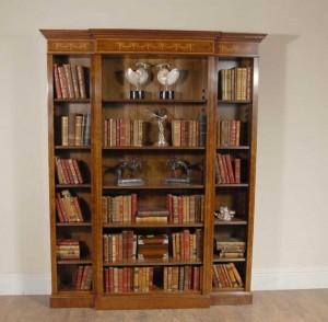 English Walnut Breakfront Bookcase Sheraton Regency
