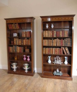 Pair English Sheraton Mahogany Openfront Bookcases