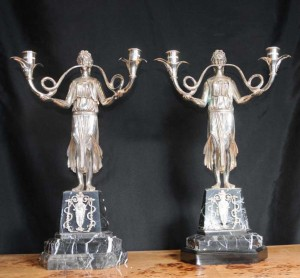 Pair French Silver Plate Empire Candelabras