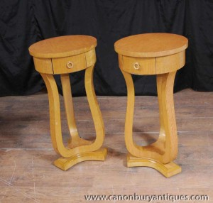 Pair Tall Art Deco Pedestal Side Tables 1920s Furniture