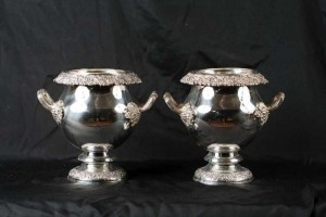 Pair Victorian Silver Plate Wine Coolers Champagne Buckets