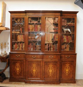 Regency Breakfront Bookcase Burr Walnut Sheraton Book