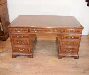 Regency Pedestal Desk Walnut Writing Table