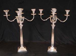 Regency Silver Plate Candelabras Doric Column Candles