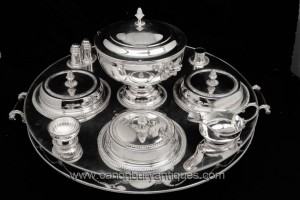 Sheffield Silver Plate Lazy Susan Revolving Dinner Server Plate Dish