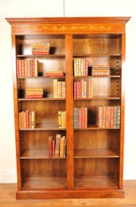 Single Walnut Sheraton Open Front Bookcase Bookcase
