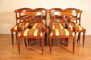 Walnut Inlay Regency Dining Chairs