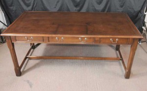 Walnut Regency Writing Desk Table Leather Top