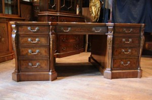 Walnut Victorian Partners Desk Pedestal Desks Bureau