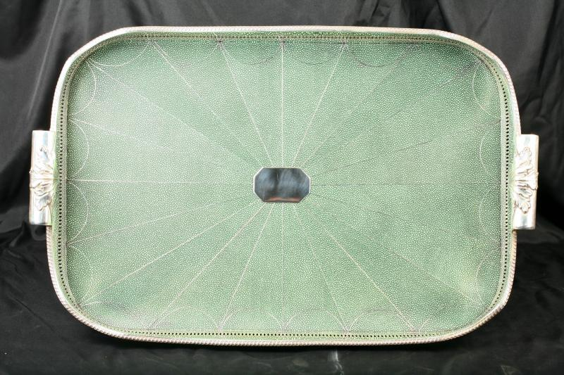 English Victorian Shagreen Silver Plate Butlers Tray Platter