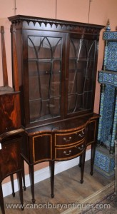 Antique Regency Display Cabinet Bookcase Mahogany