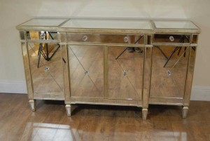 Art Deco Mirrored Breakfront Sideboard Chest Credenza