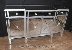 Art Deco Mirrored Breakfront Sideboard Server Buffet Mirror Furniture