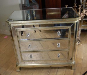 Mirror Art Deco Chest Drawers Cabinet Commode