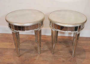 Pair Mirrored Deco Side Tables Cocktail