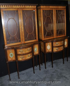 Pair Sheraton Painted Display Cabinets Regency Satinwood Bookcase