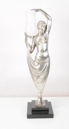French Art Deco Table Lamp Female Odalisque Figurine Statue Lights