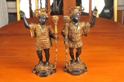 Pair Venetian Bronze Blackamoor Figurines Candles