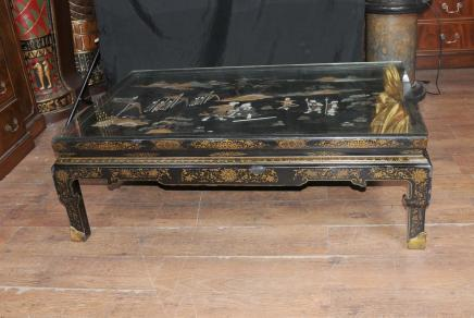 Antique Chinese Black Lacquer Coffee Table 1930s Cocktail Tables