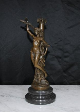 French Bronze Casting Joan of Arc Nude Female Figurine Statue