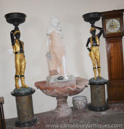 Coppia XL statue moro bronzo italiano maschio Figurine Piatti