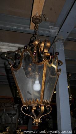 Francese Art Nouveau Lampadario Luce Ormolu Lanterna