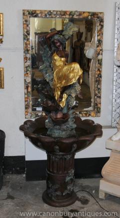 XL francese Bronzo Art Nouveau Femminile Bronzo Fontana Statua Water Garden