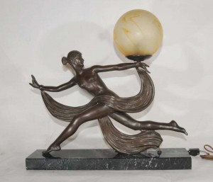 Art Deco Bronze Figurine Lamp Signed Ouline