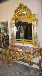 French Louis XV Gilt Console Table Mirror Set Hall Tables