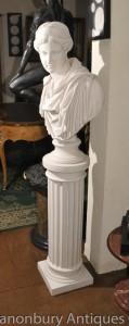 Classic Italian Marble Doric Column Pedestal Stand Table