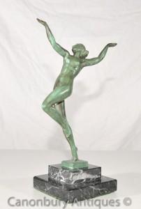 Antique 1920s Bronze Nymp Dancer Signed Guerbe Le Verrier