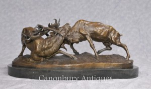 Bronze Rutting Stags Sculpture Signed PJ Mene French Stag Statue