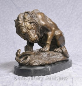 French Bronze Lion Kill Statue Signed Barye Snake Statue