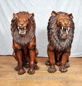Pair Lifesize Hand Carved Wood African Lion Gatekeepers Statues Landseer