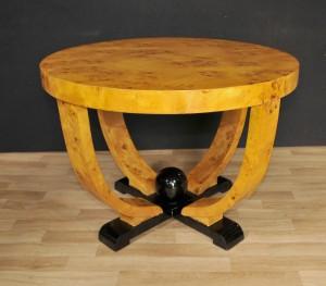 Art Deco Round Side Table Blonde Walnut Modernist Furniture