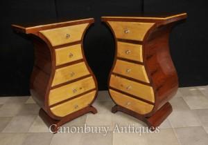 Pair Art Deco Bedside Chests Nightstands Modernist Furniture