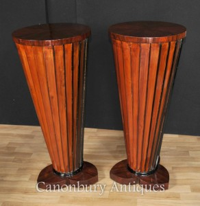 Pair Art Deco Column Pedestal Table Plinth Stands