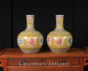 Pair Chinese Ming Dragon Vases Urns Shangping Form Famille Rose