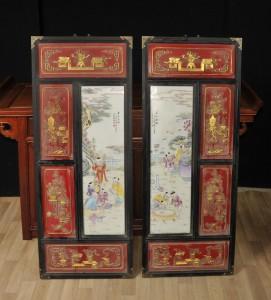 Pair Chinese Porcelain Qianlong Plaques Plates Ceramic Hanging Screen