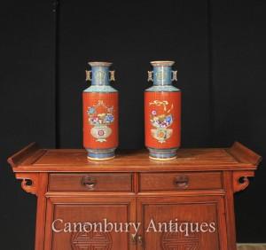 Pair Chinese Qianlong Porcelain Rose Vases Urns
