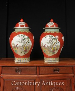 Pair Chinese Qing Porcelain Ginger Jars Vases Temple Jars Imperial Red
