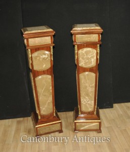 Pair Empire Marble Pedestal Stand Tables Column Table